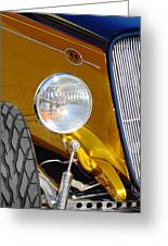 Yellow And Blue Hot Rod Headlight Greeting Card