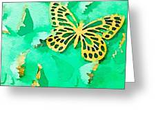 Yellow And Green Butterfly Greeting Card