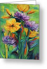 Yellow And Purple Flowers Greeting Card