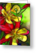 Yellow And Red Columbines Greeting Card