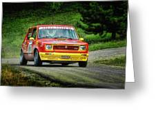 Yellow And Red Fiat 127 Greeting Card