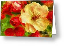 Yellow And Red Floral Delight Greeting Card