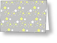 Yellow And White Stars On Grey Gray  Greeting Card