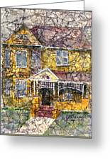 Yellow Batik House Greeting Card by Arline Wagner