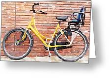 Yellow Bicycle Digital Watercolour Greeting Card