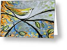 Yellow Bird Among Sage Twigs Greeting Card