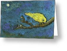 Yellow Bird And  Moon Greeting Card