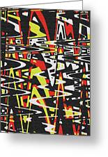 Yellow Black Red White Drawing Abstract Greeting Card