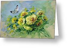 Yellow Blossoms And Butterfly Greeting Card