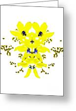 Yellow Blue Blossoms Greeting Card