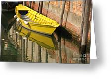 Yellow Boat In Venice Greeting Card