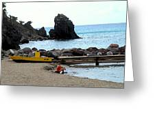 Yellow Boat On The Beach Greeting Card