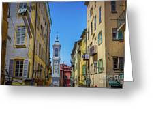 Yellow Buildings And Chapel In Old Town Nice, France - Landscape Greeting Card