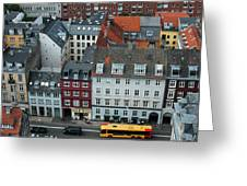 Yellow Bus In Copenhagen Denmark Greeting Card by Mary Lee Dereske