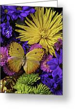 Yellow Butterfly On Bouquet Greeting Card