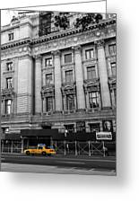 Yellow Cab By The Museum Of Natural History, New York Greeting Card