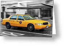 Yellow Cab In Manhattan In A Rainy Day. Greeting Card