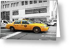 Yellow Cab In Manhattan With Black And White Background Greeting Card