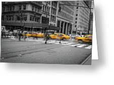 Yellow Cab On Fifth Avenue, New York 4 Greeting Card