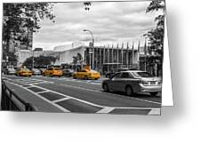 Yellow Cabs By The United Nations, New York 2 Greeting Card