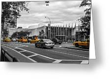 Yellow Cabs By The United Nations, New York 3 Greeting Card