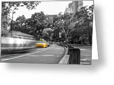 Yellow Cabs In Central Park, New York 3 Greeting Card