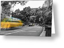 Yellow Cabs In Central Park, New York 4 Greeting Card