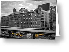 Yellow Cabs In Chelsea, New York 3 Greeting Card