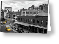 Yellow Cabs In Chelsea, New York 5 Greeting Card