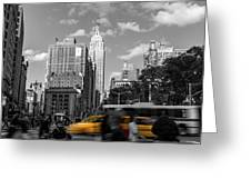 Yellow Cabs In Midtown Manhattan, New York Greeting Card
