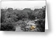 Yellow Cabs Near Central Park, New York Greeting Card