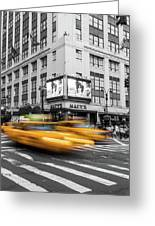 Yellow Cabs Near Macy's Department Store, New York Greeting Card