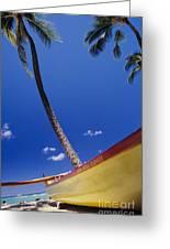 Yellow Canoe On Beach Greeting Card