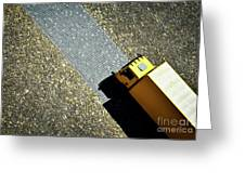 Yellow Car On The Stone Pavement Greeting Card