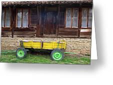 Yellow Cart And Green Wheels  Greeting Card