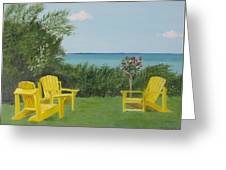 Yellow Chairs At Blue Mountain Beach Greeting Card