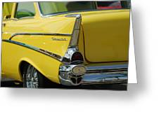 Yellow Chevrolet Tail Fin Greeting Card