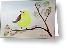 Yellow Chickadee On A Branch Greeting Card