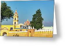 Yellow Church In Cholula, Mexico Greeting Card