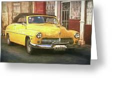 Yellow Convertible Mercury Greeting Card