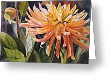 Yellow Dahlia Greeting Card by Sharon Freeman
