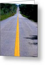 Yellow Dividing Line Marking An Empty Road Between Uxmal And Kabah Greeting Card by Sami Sarkis