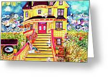 Yellow Dog House Greeting Card