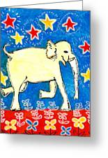 Yellow Elephant Facing Right Greeting Card