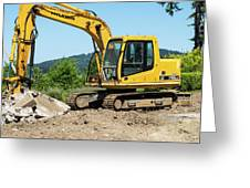 Yellow Excavator In Anacortes Greeting Card