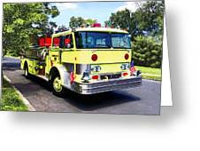 Yellow Fire Truck Greeting Card
