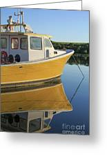 Yellow Fishing Boat Early Morning Greeting Card