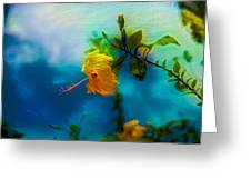 Yellow Flower On Blue Sky Greeting Card