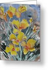 Yellow Flowers At Arboretum Greeting Card