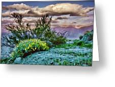Yellow Flowers In The Desert Greeting Card